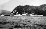 USS Louisville at anchor in the Purvis Inlet, Solomon Islands, 2 Nov 1944.
