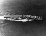 USS Ticonderoga conducting flight operations on her shakedown cruise in the Gulf of Paria between the Venezuelan mainland and the island of Trinidad, 14 Jul 1944. Note Ms 33/10A paint scheme.
