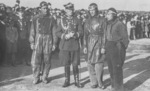 General Józef Zajac with pilots Lieutenant Bronislaw Kosinski, Corporal Karol Pniak, and Corporal Stanislaw Macek, Katowice, Poland, May 1933, photo 2 of 2