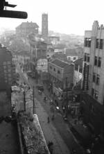 View of Chongqing, China, late 1937; note building damaged by Japanese aerial bombing