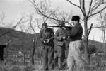 Chinese soldier teaching Harrison Forman rifle operations, Changsha, Hunan Province, China, 1942