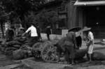 Civilians filling sandbags, Hankou, Wuhan, Hubei Province, China, 10 Aug 1937, photo 2 of 2