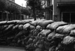 Sandbags on a street in Hankou, Wuhan, Hubei Province, China, 10 Aug 1937, photo 2 of 2