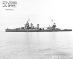 Portside broadside view of the cruiser USS New Orleans off Mare Island, California, United States, 8 Mar 1945.