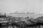 HMS Cumberland in the Huangpu River, Shanghai, China, Aug-Sep 1937, photo 1 of 2