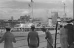 US Navy personnel aboard USS Augusta looking at a French warship, possibly the aviso Savorgnan De Brazza, in Shanghai, China, 21 Aug 1937
