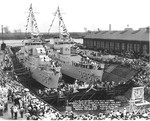 Bagley-class destroyers Blue and Helm on 27 May 1937, the date of their launching, in Drydock #2 at Norfolk Navy Yard, Portsmouth, Virginia, United States.