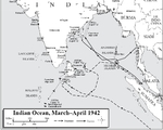 Map showing Nagumo's and Ozawa's movements during the Indian Ocean Raids of Apr 1942.