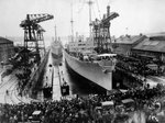 After ammunition ships Pyro and Nitro were christened at the Puget Sound Naval Shipyard, Bremerton, Washington, United States, the drydock was flooded for their launching, 16 Dec 1919.