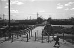 Barricaded bridge, French Concession Zone, Shanghai, China, mid-1937