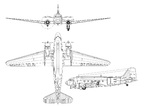 Line drawing of the Douglas C-47 Skytrain cargo aircraft.