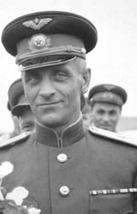 Soviet Air Force Major General Alexei R. Perminov, commander of the air base at Poltava, Ukraine on the occasion of welcoming the first American Operation Frantic bombers to the base, 2 Jun 1944.