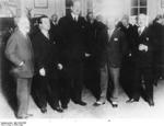 Ernst Udet and others at an aero club in Paris, France, 1928
