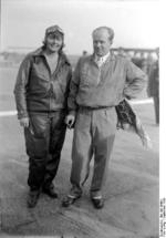 Thea Rasche and Ernst Udet at Tempelhof Airport, Berlin, Germany, Sep 1928, photo 1 of 2