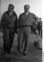 Thea Rasche and Ernst Udet at Tempelhof Airport, Berlin, Germany, Sep 1928, photo 2 of 2