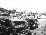Stockpile of HVAR air-to-surface rockets at the Chinhae Air Base (now Jinhae), South Korea, home of the 18th Fighter-Bomber Group and their P-51D Mustangs, Oct 51.