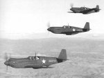A flight of three A-36A Mustang attack aircraft on a training flight near Savannah, Georgia, United States, 1942; the lead plane was destroyed in a landing accident 8 Jan 1943