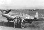 A-36A Mustang aircraft 42-84067 of the 527th FBS, 86th BFG, Gaudo Airfield, southern Italy, 14 Jan 1944; note chin-mounted guns and the bombing mission markings on the cowl