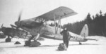 Ar 68 aircraft at rest on a snowy field, date unknown