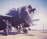 TBM-3E Avenger of Marine Squadron VMTB-132 prepares for catapult launch from USS Cape Gloucester (CVE-109) for a mission over Kyushu, Japan, 8 Sept 1945