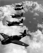 TBF Avenger torpedo bombers flying in formation above Norfolk, Virginia, United States, Sep 1942