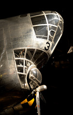 Close-up of the nose of the B-18 bomber on display at the National Museum of the United States Air Force, Dayton, Ohio, United States, 27 Jun 2014
