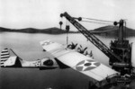 PBY-5 aircraft being hoisted onto USS Tangier, 6 May 1942