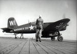 F4U-4 Corsair fighter of US Marine Corps squadron VMF-225 aboard USS Cabot, circa late 1940s