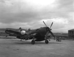 F4U-5N Corsair fighter of US Marine Corps squadron VMF(N)-513 at rest, Wonsan, Korea, 2 Nov 1950, photo 1 of 2. Note the HVAR rockets.