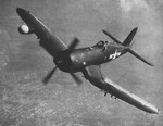 F4U-5N Corsair nightfighter in flight, late 1940s; seen in Nov 1949 issue of US Navy publication Naval Aviation News