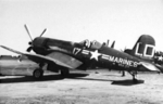 AU-1 Corsair fighter of US Marine Corps squadron VMF-212 at Gimpo airfield near Seoul, Korea, 1952