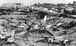 Japanese P1Y Ginga and D4Y Suisei aircraft at Atsugi Airfield, Japan, post-war; note some propellers removed to prevent unauthorized flights