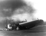 Destroyed US Marine Corps SBD Dauntless dive bomber at Marine Corps Air Station Ewa, US Territory of Hawaii, 7 Dec 1941