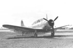 A-24B-1-DT Banshee aircraft (serial number 42-54372) at rest with dive brakes extended, 1943-45; note P-47 and B-24 aircraft in background