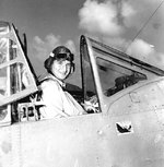 US Navy pilot Lieutenant Commander Lance E. Massey of Torpedo Squadron 3 in his TBD-1 Devastator aircraft, Naval Air Station Ford Island, Pearl Harbor, 24 May 1942