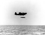 TBD-1 Devastator aircraft 6-T-9 of Torpedo Squadron 6 dropped a Mark XIII torpedo during exercises in the Pacific, 20 Oct 1941