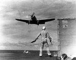 TBD-1 Devastator torpedo bomber landing on Enterprise, Jul 1941