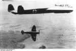 German Do 17 bomber and British Spitfire fighter in the sky over Britain, Dec 1940