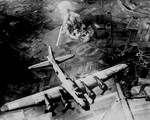 8th Air Force B-17 bomber raiding Focke Wulf plants at Marienburg, Germany (now Malbork, Poland), Oct 9 1943