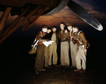 American YB-17 bomber crew receiving last minute instructions before taking off on a mission, Langley Field, Virginia, United States, May 1942