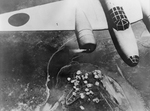 Japanese Ki-21 bomber dropping bombs on Chongqing, China, China, 14 Sep 1940; note Yangtze River