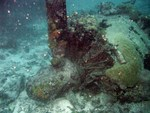 Wreck of an engine of a H8K seaplane, Truk (Chuuk), Caroline Islands, 20 Jul 2006
