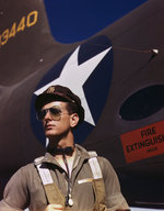 US Army test pilot F. W. Hunter posing before an A-20 Havoc aircraft at the Douglas Aircraft Company plant at Long Beach, California, United States, Oct 1942