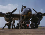 American crew servicing an A-20 Havoc bomber, Langley Field, Virginia, United States, Jul 1942