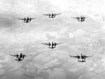 A formation of A-20 Havoc bombers in flight, circa 1943