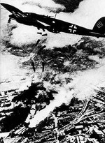 German Heinkel He 111 aircraft bombing Warsaw, Poland, Sep 1939