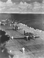 F6F Hellcat aircraft of Fighting Squadron 8 warm up on USS Intrepid