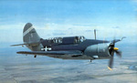 SB2C Helldiver aircraft in flight with tri-color plaint scheme from Feb 1945