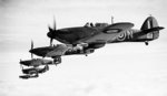 Six British Royal Navy Fleet Air Arm Sea Hurricane aircraft operating from RNAS Yeovilton (HMS Heron), Somerset, England, United Kingdom, 9 Dec 1941