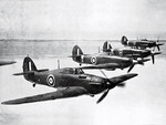 Canadian Hurricane fighters in flight, date unknown